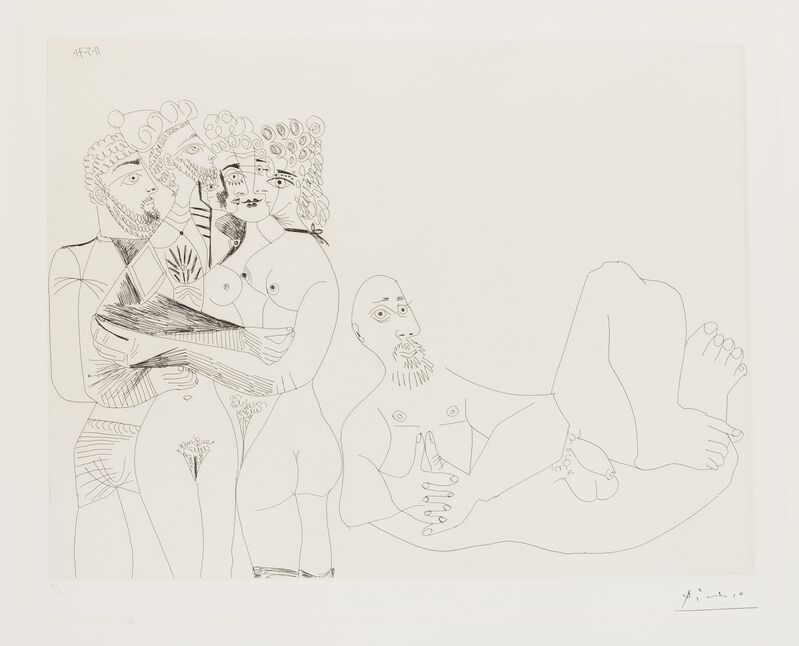 Pablo Picasso, '156 Series: Reclining Male Nude and Five Embracing Nudes, One a Hermaphrodite (Bloch 1977)', 1971, Print, Etching, Forum Auctions