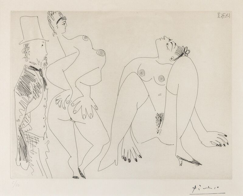 Pablo Picasso, '156 series: Degas in Top Hat Viewing Two Nudes (Bloch 1960)', 1971, Print, Etching, Forum Auctions