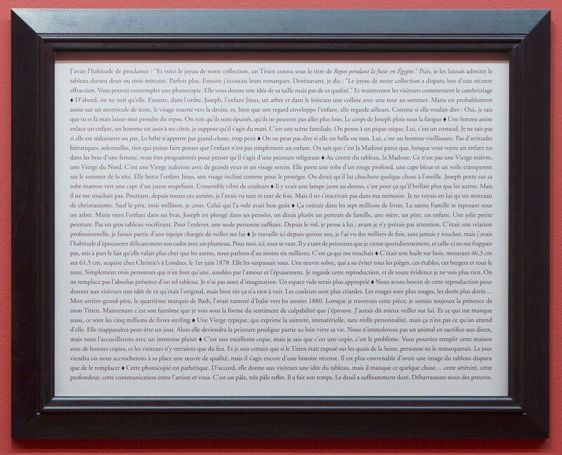 Sophie Calle, 'Purloined : Titian, The Rest on the Flight into Egypt / Tableaux dérobés : Titien, Le Repos pendant la fuite en Egypte', 1998-2013, Photography, Colour photograph, text, frames, Perrotin