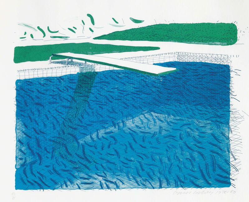 David Hockney, 'Lithographic Water Made of Lines, Crayon, and Two Blue Washes', 1980, Print, Lithograph in colors on TGL handmade paper, Christie's