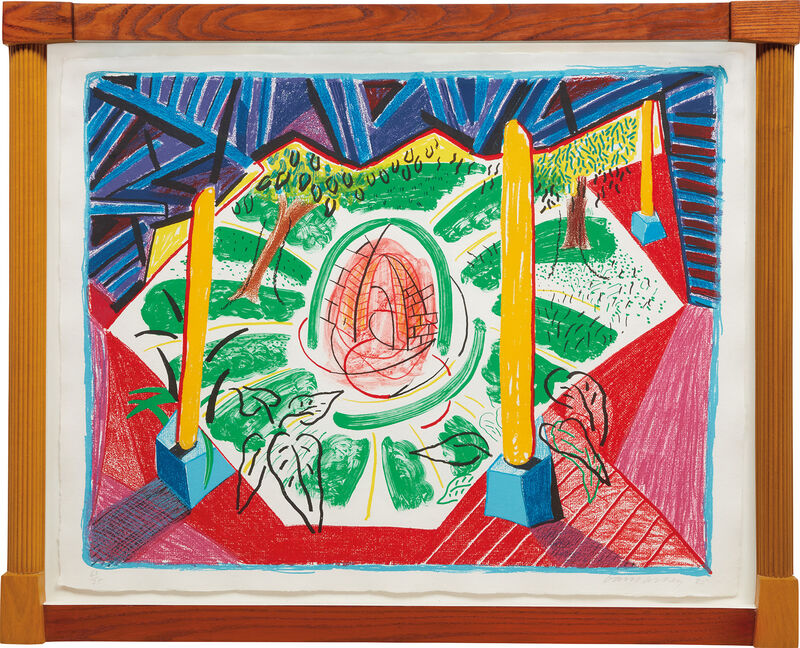 David Hockney, 'Views of Hotel Well II, from Moving Focus Series', 1985, Print, Lithograph in colors, on John Koller HMP handmade paper, with full margins, contained in the artist's sculptural and stained wood frame (as issued)., Phillips