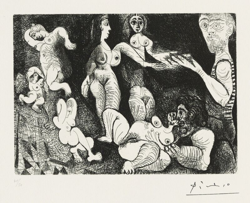Pablo Picasso, 'Marin rêveur avec deux femmes, from: Series 156', 1970, Print, Etching, scraper and drypoint on wove paper, Christie's