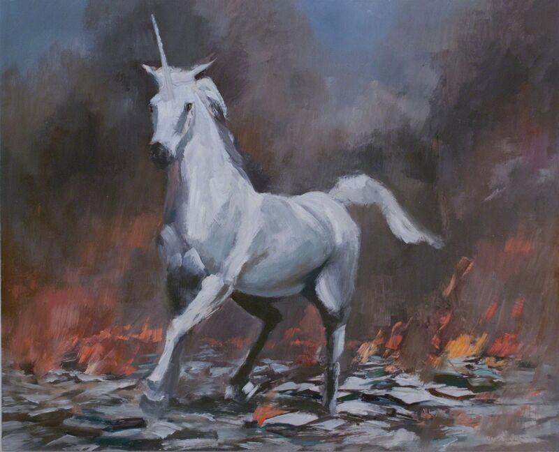 Adam Cvijanovic, 'Unicorn', 2012, Painting, Oil on mylar mounted on wood panel, Postmasters Gallery