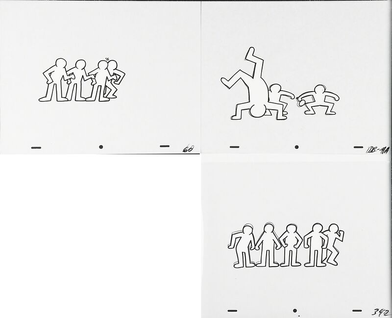Keith Haring, 'Keith Haring Sesame Street Breakdancers Animation Cell', 1987, Drawing, Collage or other Work on Paper, Three marker on overhead sheets, Rago/Wright