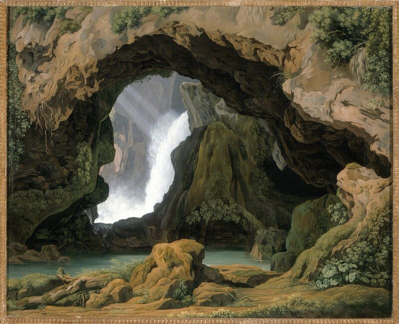 Johann Martin von Rohden, 'The Grotto of Neptune in Tivoli', 1812, Painting, Oil on canvas, Los Angeles County Museum of Art