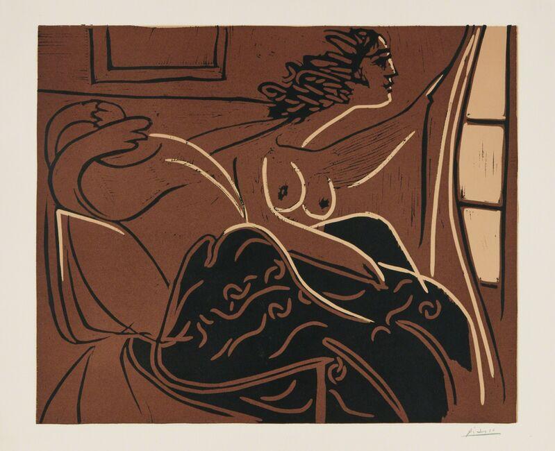Pablo Picasso, 'Femme regardant par la fenêtre (Woman Looking out the Window)', 1960, Print, Linocut in colors, on Arches paper, with full margins, Phillips