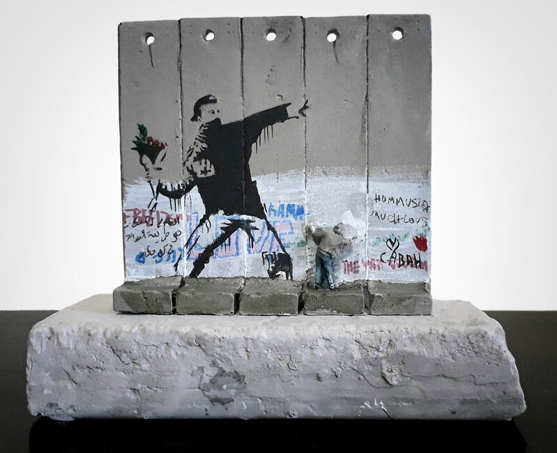 Banksy, 'Walled Off Hotel - Five Part Souvenir Wall Section (Flower Thrower)', Sculpture, Hand painted resin sculpture with West Bank Separation Wall base, Tate Ward Auctions