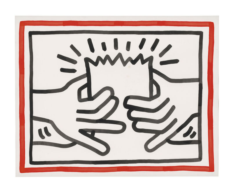 Keith Haring, 'Busted Head', 1984, Painting, Sumi ink on paper, Rosenfeld Gallery LLC