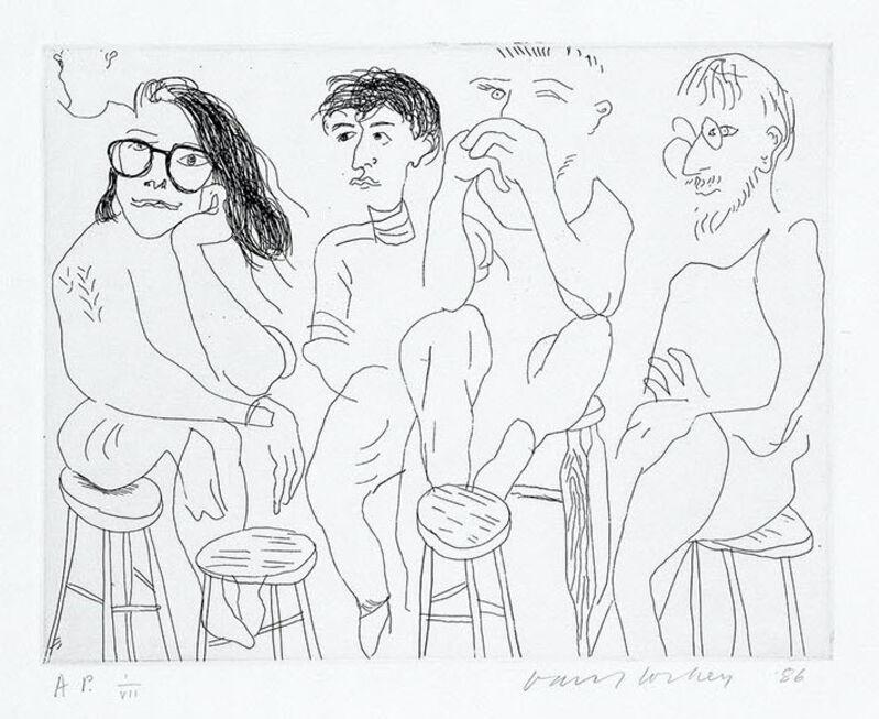David Hockney, 'Harvard Etching', 1986, Print, Etching, Sims Reed Gallery