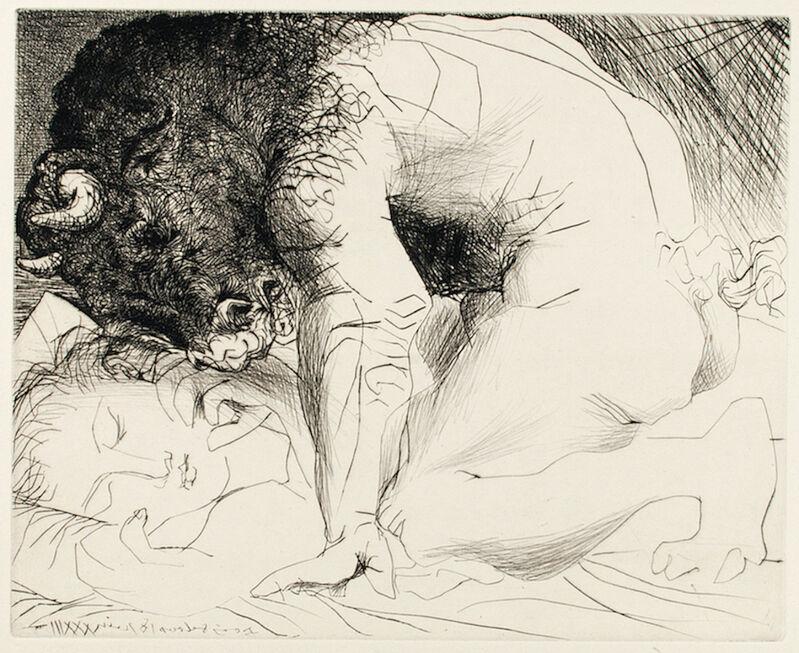 Pablo Picasso, 'MINOTAURE CARESSANT UNE DORMEUSE (B. 201; G/B 369; S.V. 93)', 1933, Print, Drypoint on Montval laid paper, Marc Rosen Fine Art Ltd