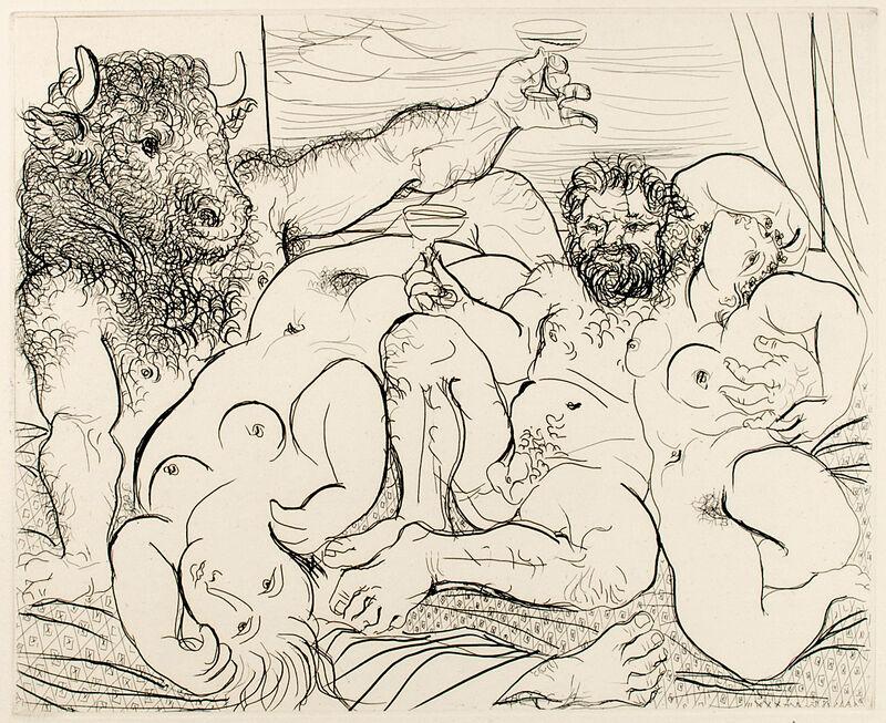 Pablo Picasso, 'SCÈNE BACCHIQUE AU MINOTAURE (B. 192; G/B 351; S.V. 85)', 1933, Print, Etching on Montval laid paper, Marc Rosen Fine Art Ltd