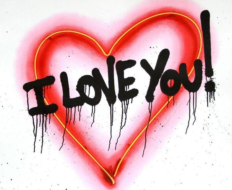 Mr. Brainwash, 'Speak from the Heart (I Love You)', 2018, Mixed Media, Silkscreen with paint splatters on paper, DANE FINE ART