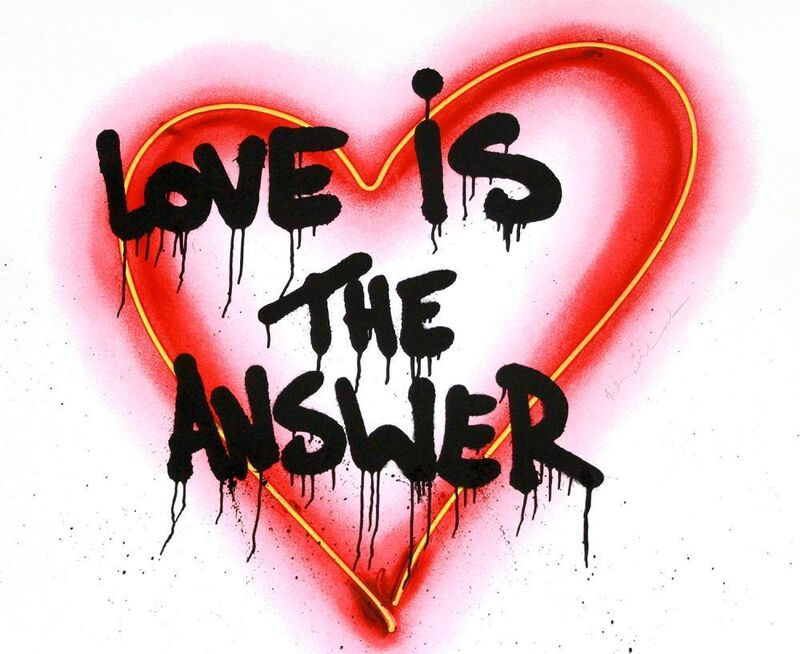 Mr. Brainwash, 'Speak from the Heart (Love is the Awnser)', 2018, Mixed Media, Silkscreen with paint splatters on paper, DANE FINE ART