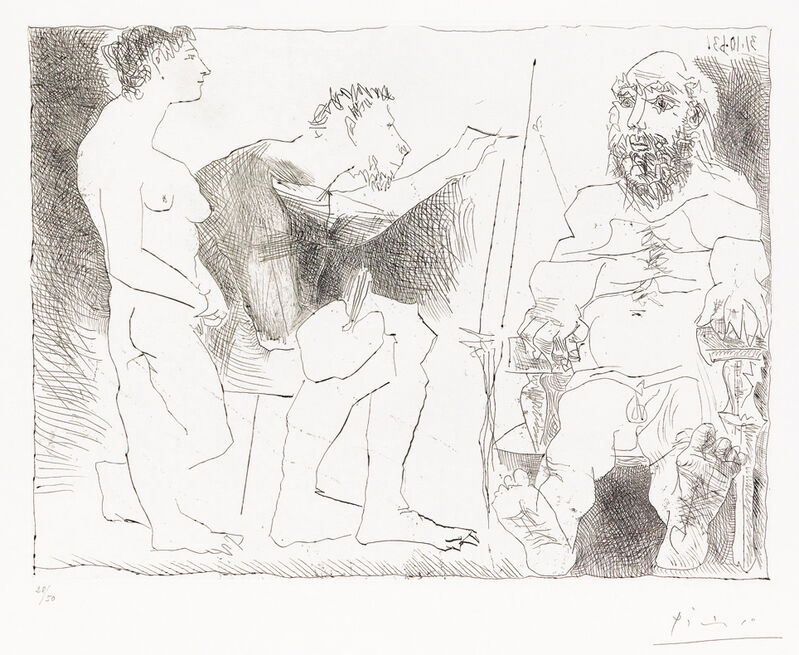 Pablo Picasso, 'Peintre au Travail (Painter at Work)', 1963, Print, Etching on Rives paper, Masterworks Fine Art