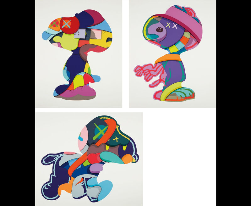 KAWS, 'No One's Home; Stay Steady; and The Things That Comfort', 2015, Print, The complete set of three screenprints in colors, on Saunders Waterford paper, with full margins., Adelia Art Gallery