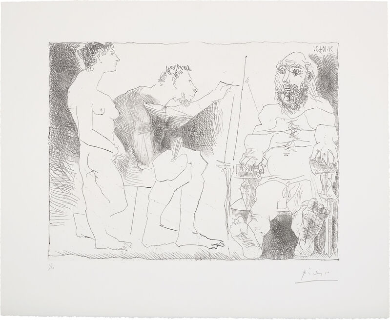 Pablo Picasso, 'Peintre avec un modèle barbu et une spectatrice (Painter with a Bearded Model and a Spectator)', 1963, Print, Etching, on BFK Rives paper, with full margins., Phillips