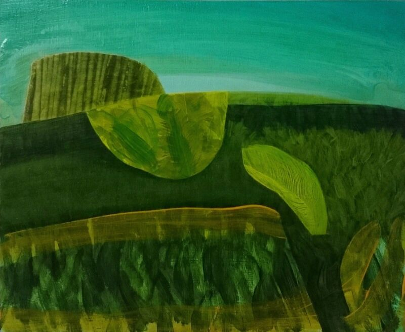 Andy Barker, 'Articulated Landscape', 2015, Painting, Oil and collage on wood, Zuleika Gallery