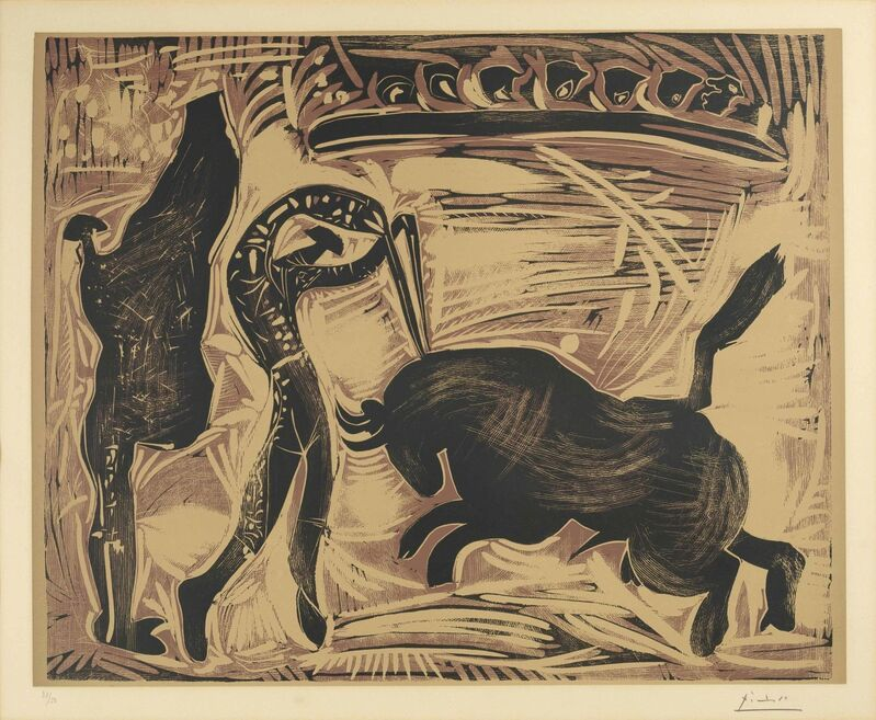 Pablo Picasso, 'Les Banderilles', 1959, Print, Linocut printed in black, brown and cream on Arches wove paper, Christie's