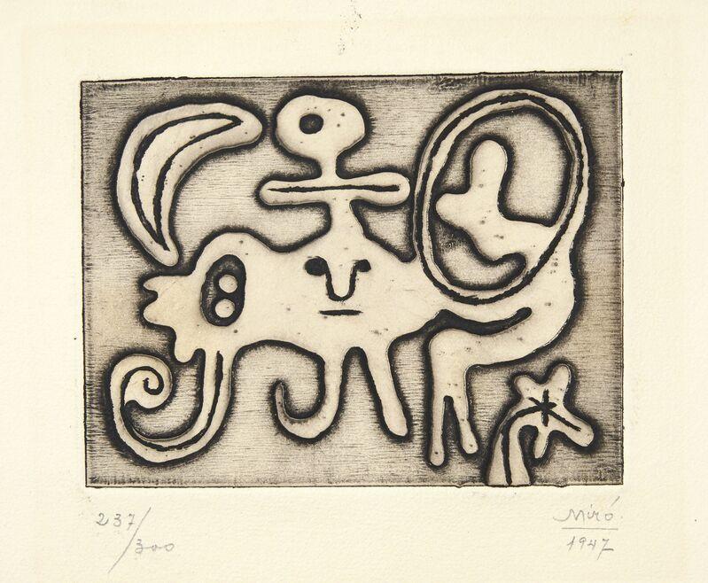 Joan Miró, 'Femme et Oiseau devant la Lune, from Laurels Number One', 1947, Print, Etching, on wove paper, Christie's