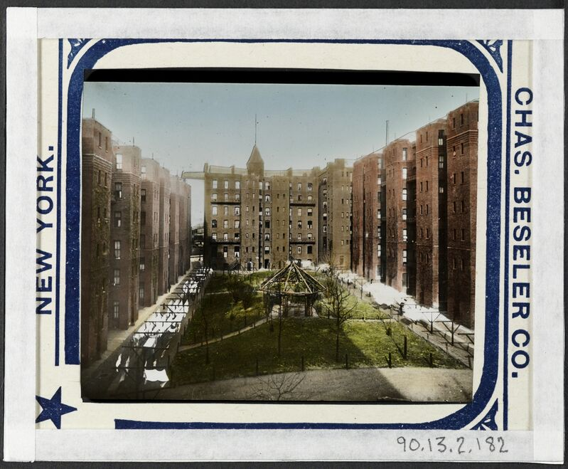 Jacob A. Riis, 'The Riverside Tenements in Brooklyn.', ca. 1900, Photography, Gelatin silver transparency, hand coloring, Museum of the City of New York