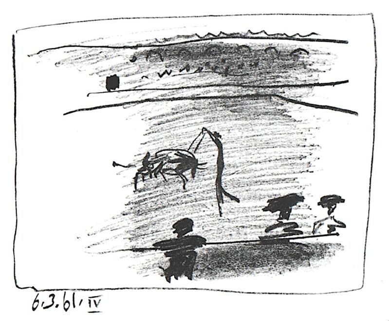 Pablo Picasso, 'Les Banderillas', 1961, Print, Original lithograph in black ink, michael lisi / contemporary art