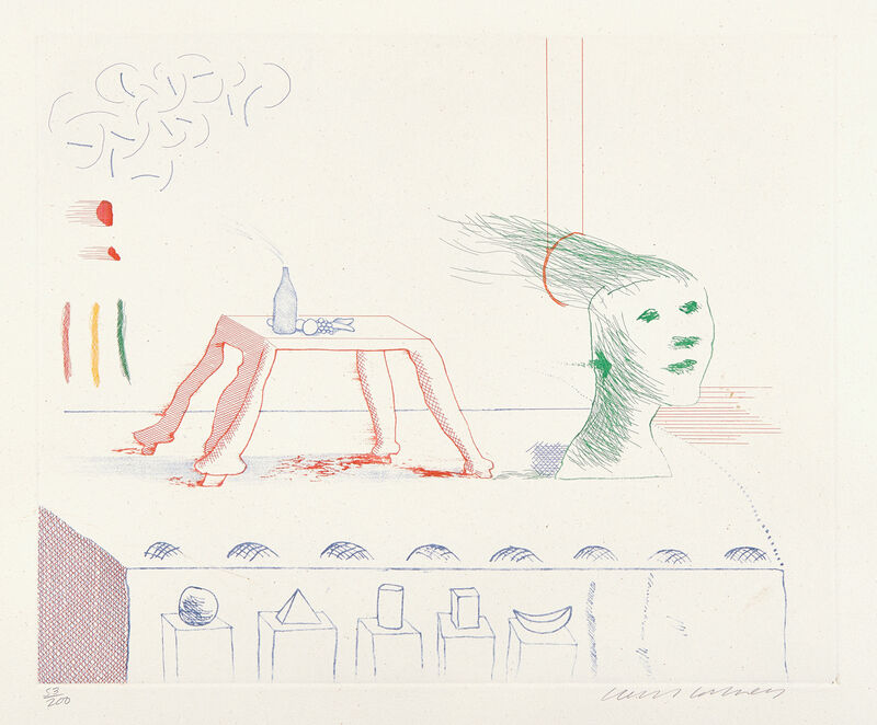 David Hockney, 'A Moving Still Life, from The Blue Guitar (S.A.C. 216, M.C.A.T. 195)', 1976-1977, Print, Etching and aquatint in colors, on Inveresk paper, with full margins., Phillips