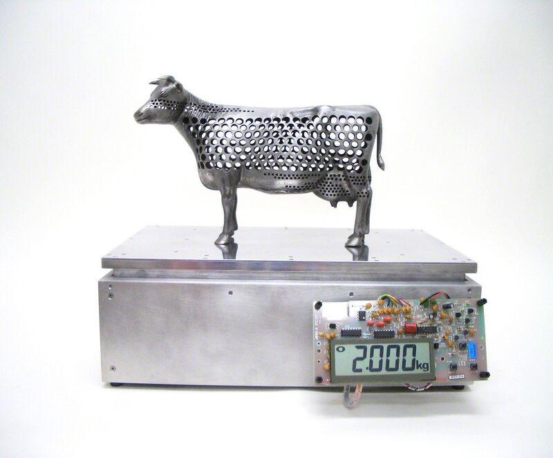 Satoru Tamura, '2kg Cow', 2004, Sculpture, Digital scale, casting, aluminium, acrylic, Tezukayama Gallery