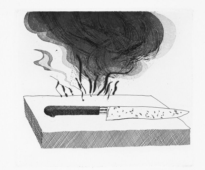 David Hockney, 'The Carpenter's Bench, a Knife and Fire', 1969, Print, Aquatint, etching and drypoint, Goldmark Gallery
