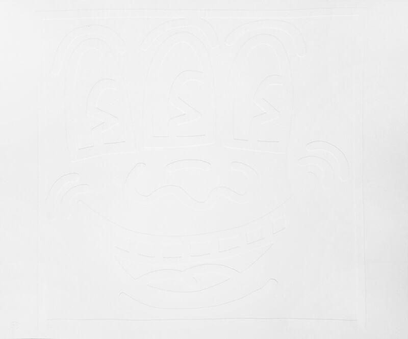 Keith Haring, 'White Icons (E) - Three Eyed Man', 2002, Print, Embossing, Hamilton-Selway Fine Art