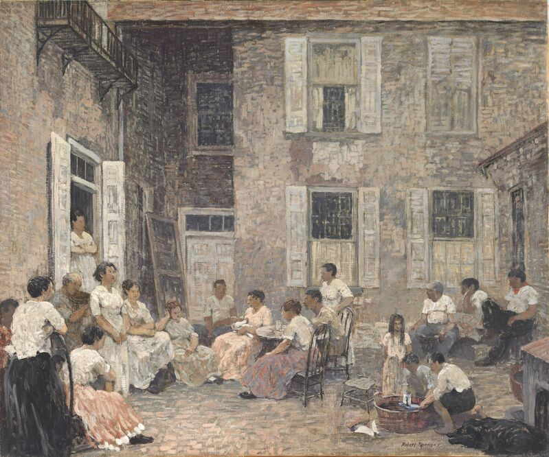Robert Spencer, 'Courtyard at Dusk', 1913, Painting, Oil on canvas, de Young Museum