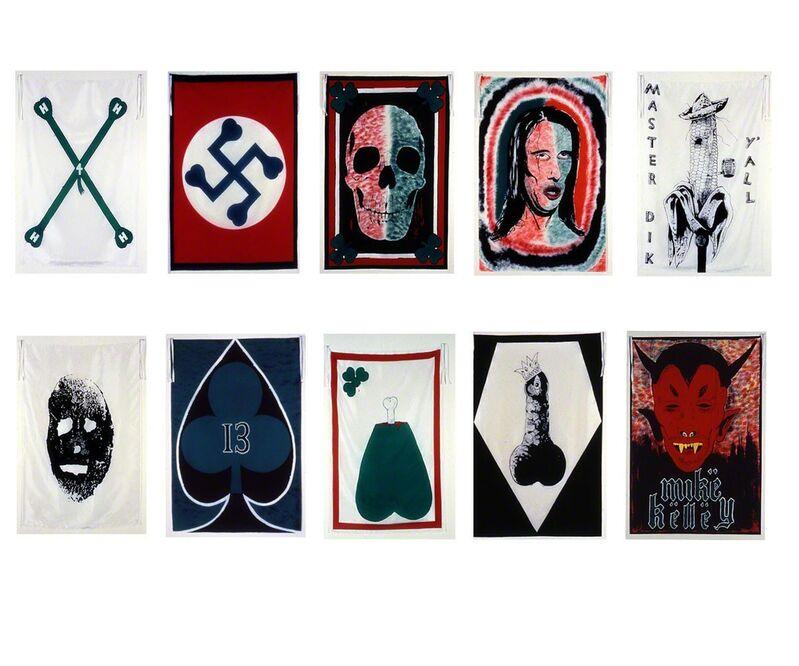 Mike Kelley, 'Pansy Metal/Clovered Hoof', 1989, Print, Ten oversized silk scarves: Silk screen on China Silk Habotai, Carolina Nitsch Contemporary Art