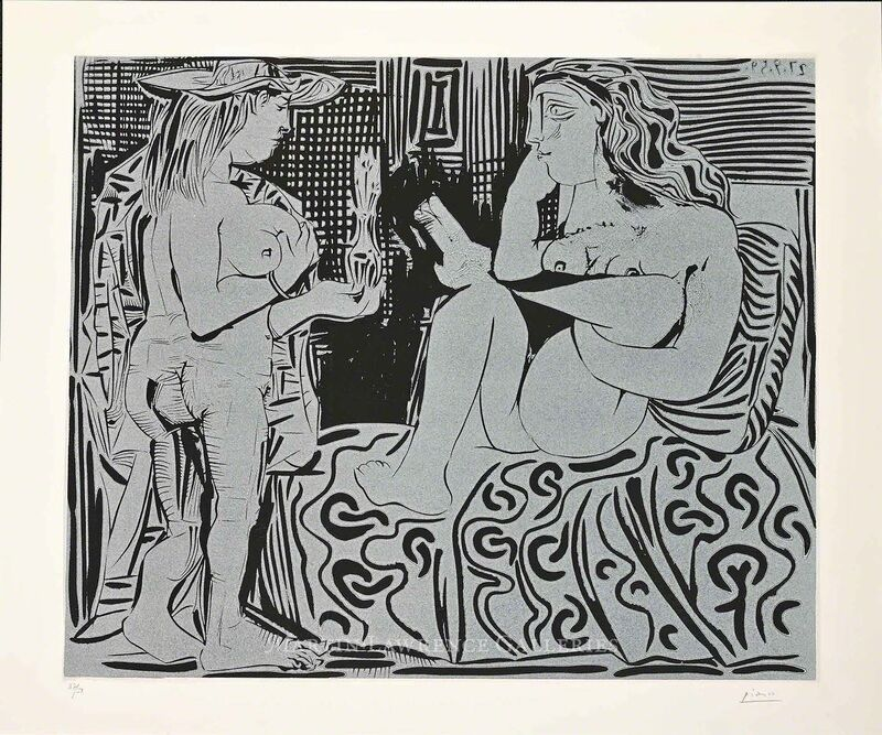 Pablo Picasso, 'Two Women with a Vase of Flowers (B.915)', 1960, Print, Hand-signed linocut, Martin Lawrence Galleries