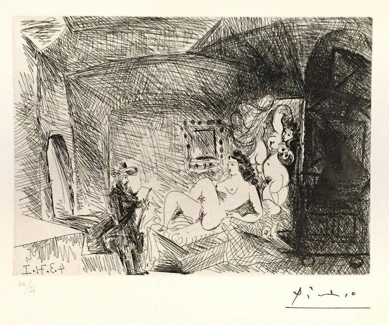 Pablo Picasso, 'Peintre, Modèle et Toile ', 1971, Print, Etching, Wallector