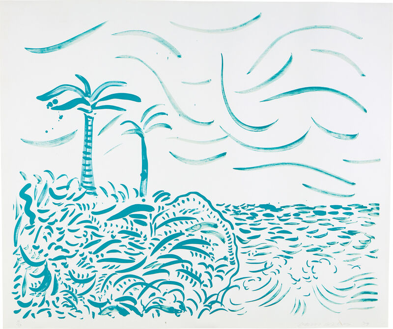 David Hockney, 'Green Bora Bora', 1979, Print, Lithograph in green, on Rives BFK paper, with full margins., Phillips