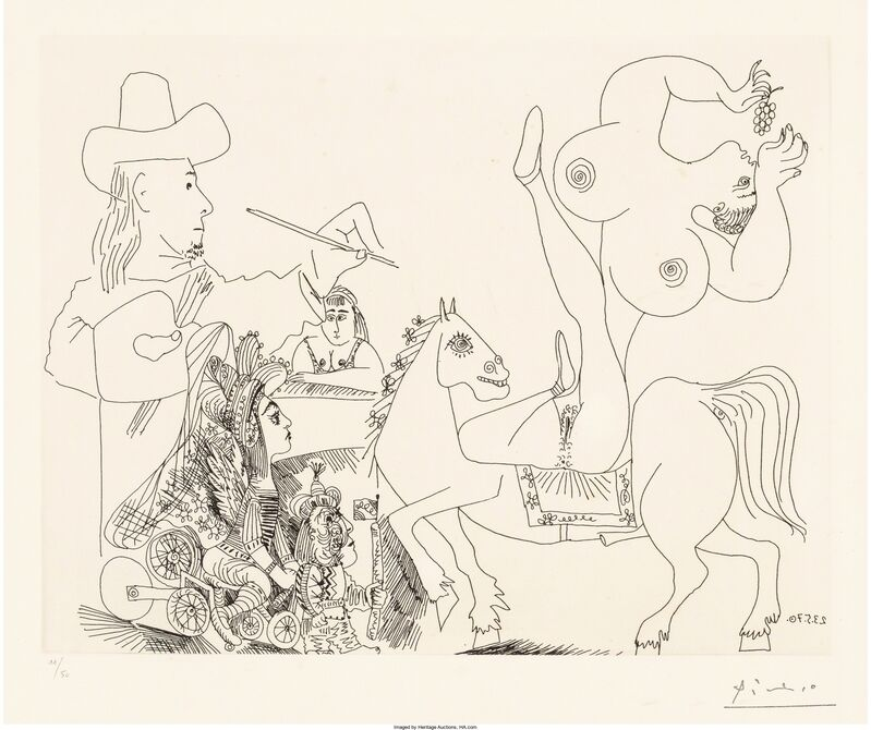 Pablo Picasso, 'Artist and Nude Equestrienne Eating Grapes, from Series 156', 1970, Print, Etching on wove paper, Heritage Auctions