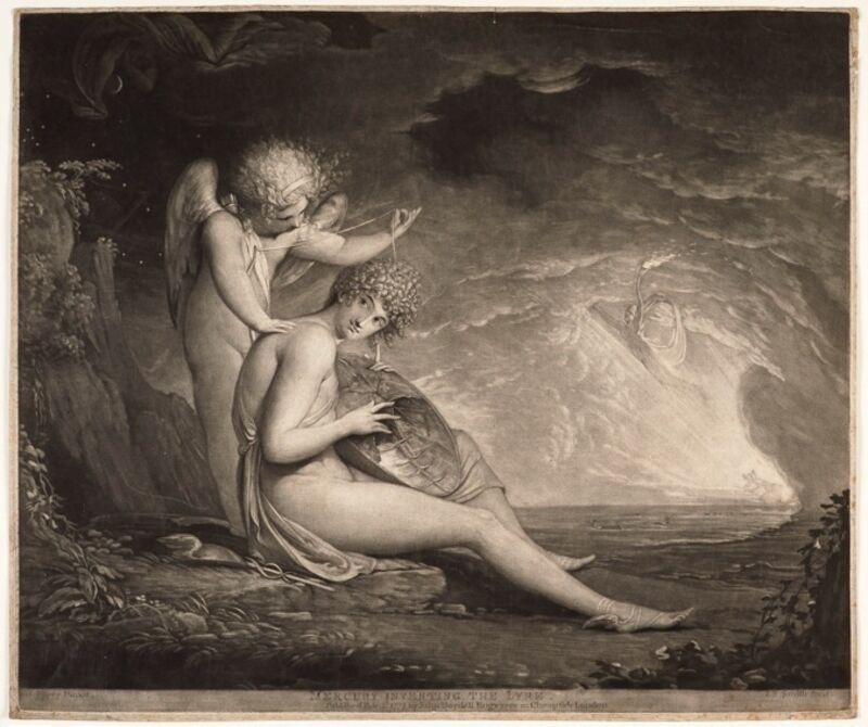 James Barry, 'Mercury Inventing the Lyre', 1775, Print, Mezzotint in brown, Emanuel von Baeyer