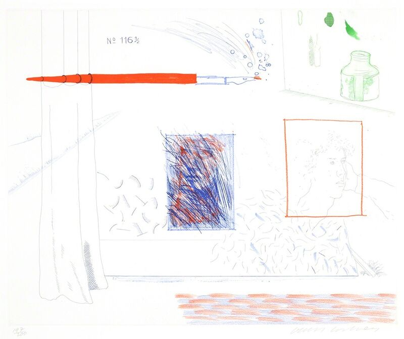 David Hockney, 'Etching is the Subject, 14, The Blue Guitar', 1976-1977, Print, Etching, softground etching, and aquatint on paper, Masterworks Fine Art