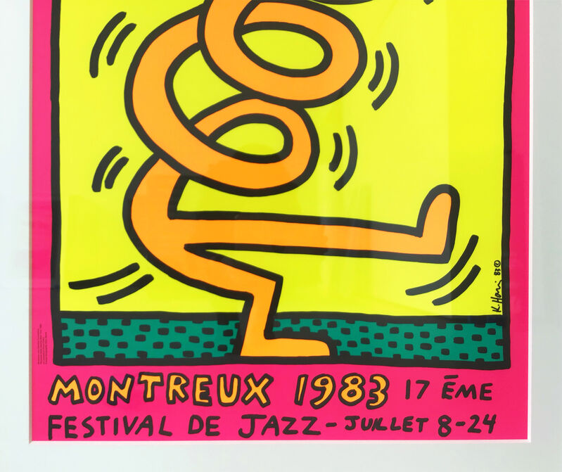 Keith Haring, 'Montreux Jazz Festival, 1983 (Pink)', 1983, Print, Lithograph in colours with text, Hang-Up Gallery