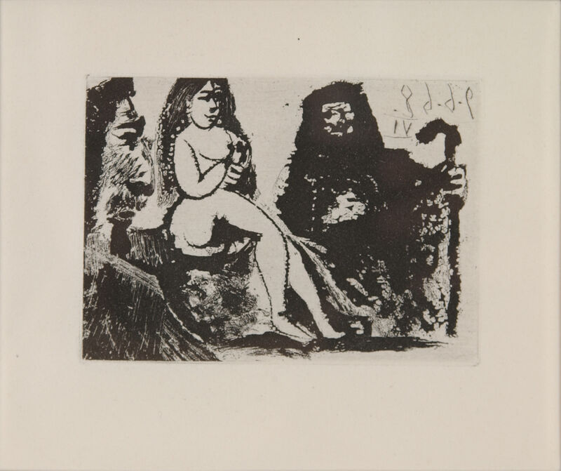 Pablo Picasso, 'Visiteur au nez bourbonien chez la Célestine', 1968, Print, Etching with aquatint on Richard de Bas laid paper, Galerie Michael