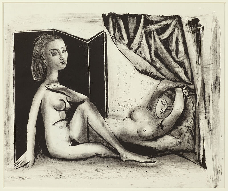 Pablo Picasso, 'Les deux Femmex nues State 7b (5th January 1946)', 1946, Print, Wash drawing and scraper on stone, Cristea Roberts Gallery