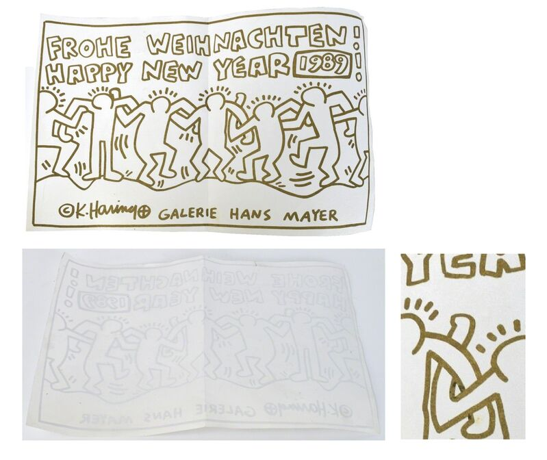 """Keith Haring, '""""FROHE WEIHNACHTEN! HAPPY NEW YEAR 1989"""", Invitation / Poster, Galerie Hans Mayer, Screenprint in Gold Ink', 1989, Print, Screenprint on on parchment type paper ., VINCE fine arts/ephemera"""