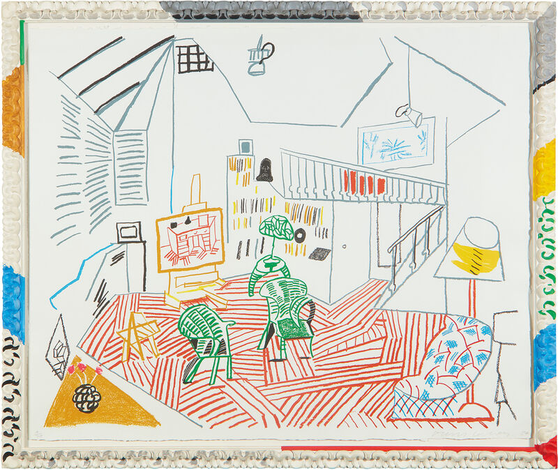 David Hockney, 'Pembroke Studio Interior, from Moving Focus Series', 1984, Print, Lithograph in colors, on TGL handmade paper, the full sheet, contained in the original hand painted artist's frame (as issued)., Phillips