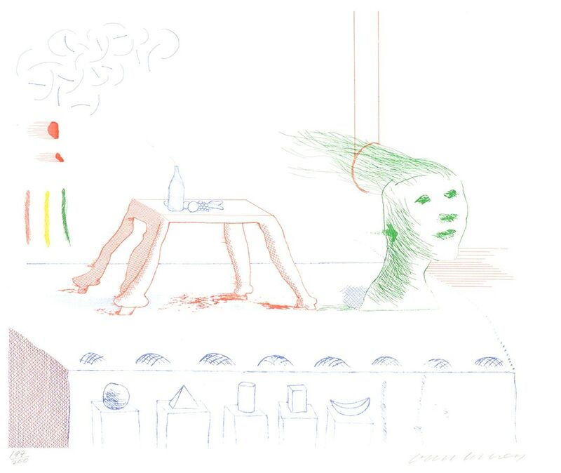 David Hockney, 'A Moving Still Life, from The Blue Guitar', 1976-1977, Print, Etching, softground etching, and aquatint on paper, Masterworks Fine Art