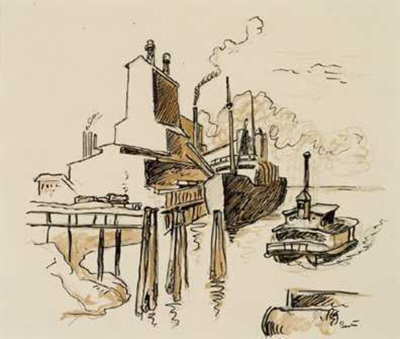 Thomas Hart Benton, 'Freighter at Dockside with Tugboat', Drawing, Collage or other Work on Paper, Ink, graphite and sepia wash, Kiechel Fine Art
