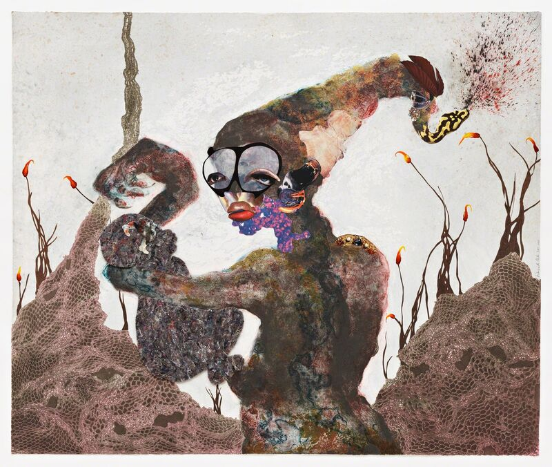 Wangechi Mutu, 'Second Born', 2013, Print, 24 kt gold, collagraph, relief, digital printing, collage and hand-coloring, Pace Prints
