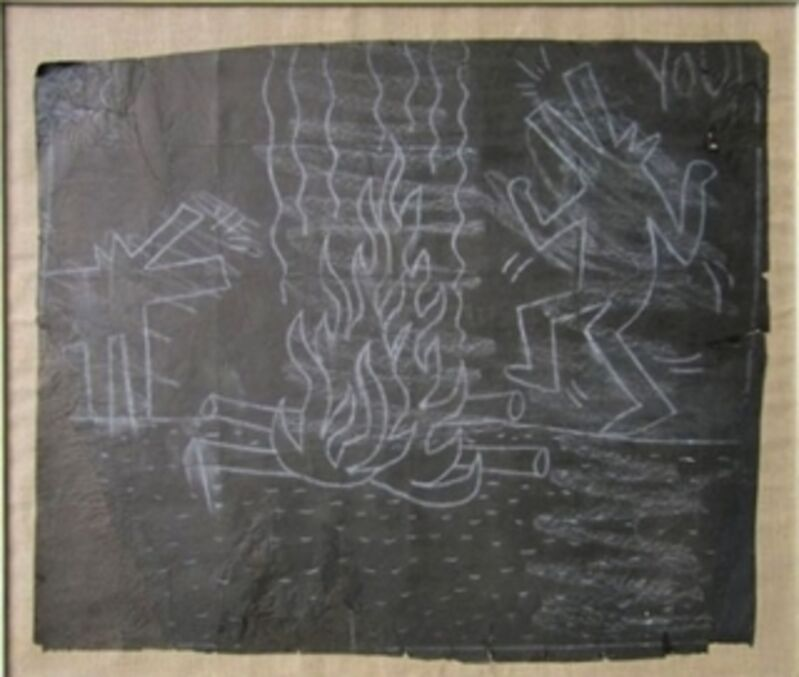 Keith Haring, 'Untitled (Dancing Dogs Around the Fire)', 1982, Other, Original chalk subway drawing (paper mounted on canvas), Taglialatella Galleries