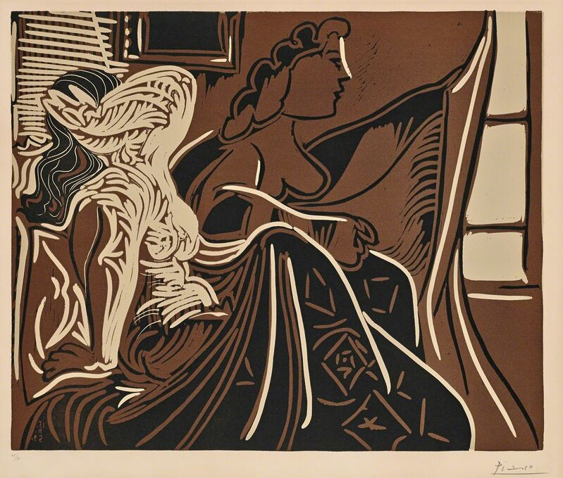 Pablo Picasso, 'The Morning - Two Women Awakening (B.924)', 1959, Print, Hand-signed linocut, Martin Lawrence Galleries