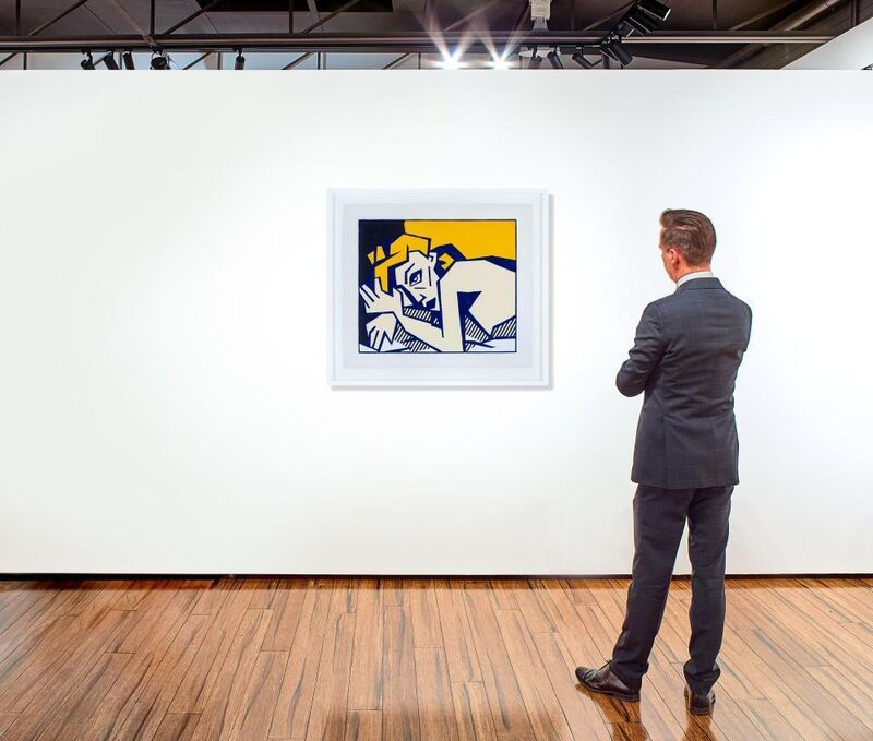 Roy Lichtenstein, 'Reclining Nude, from Expressionist Woodcut Series', 1980, Print, Woodcut with embossing on Arches Cover paper, Fine Art Mia