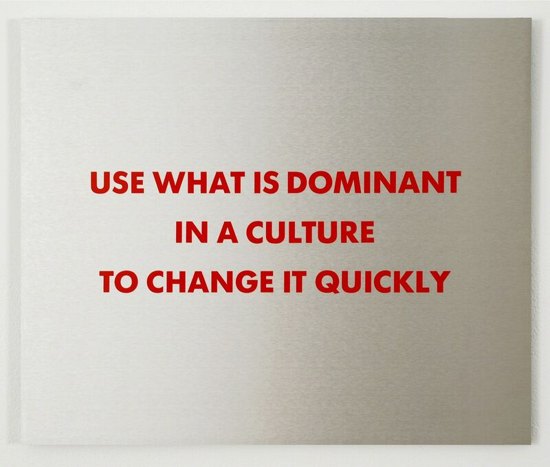 Jenny Holzer, 'Selection from the Survival Series: Use What Is Dominant...', 1983-1985, Sculpture, Screenprint on brushed aluminum, Brooke Alexander, Inc.