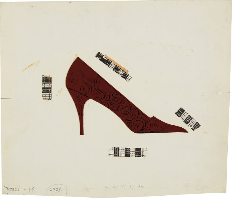 Andy Warhol, 'Shoe (collage)', 1955, Drawing, Collage or other Work on Paper, Ink and leather collage on paper, Phillips